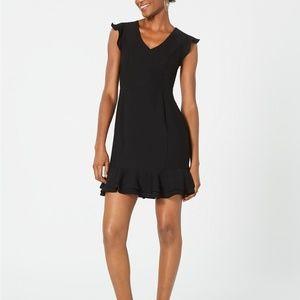 19 Cooper Ruffled Lace-Back Dress Black Size M
